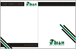 Letterhead and back for H&M Real Estate