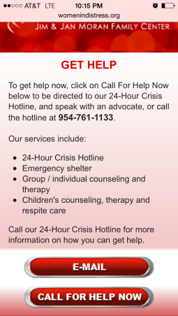 An interior page of the Women In Distress mobile site including an over view of ways to get help and buttons to email or call for help immediately