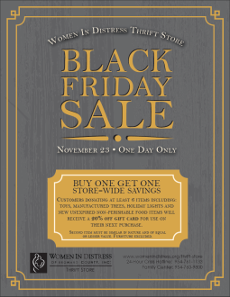 Black Friday Sale flyer for the Women In Distress Thrift Store