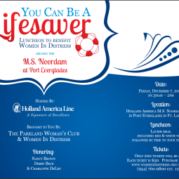 Flyer for a luncheon sponsored by Holland America for Women In Distress