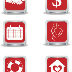 The individual icons I designed for the Women In Distress mobile site