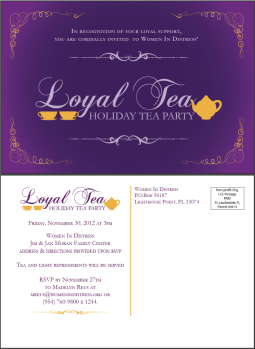 Loyal Tea invitation postcard using logo and branding I created for the event