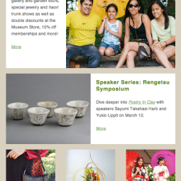 New, responsive version of Morikami's e-newsletter I designed to incorporate the new site's color palette